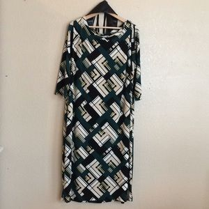 Cato 22/24w shift dress green with black belt